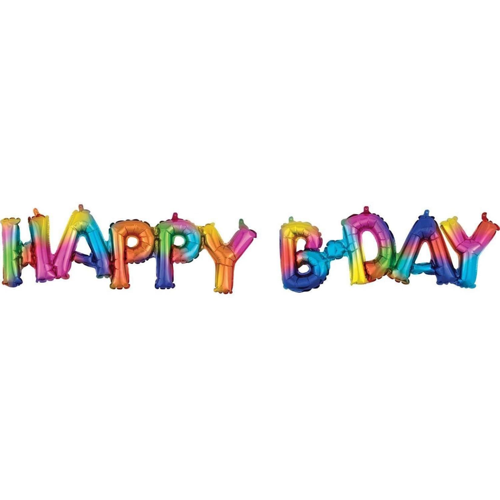 "Air Filled - Happy B-Day - Rainbow-56"" x 20"""