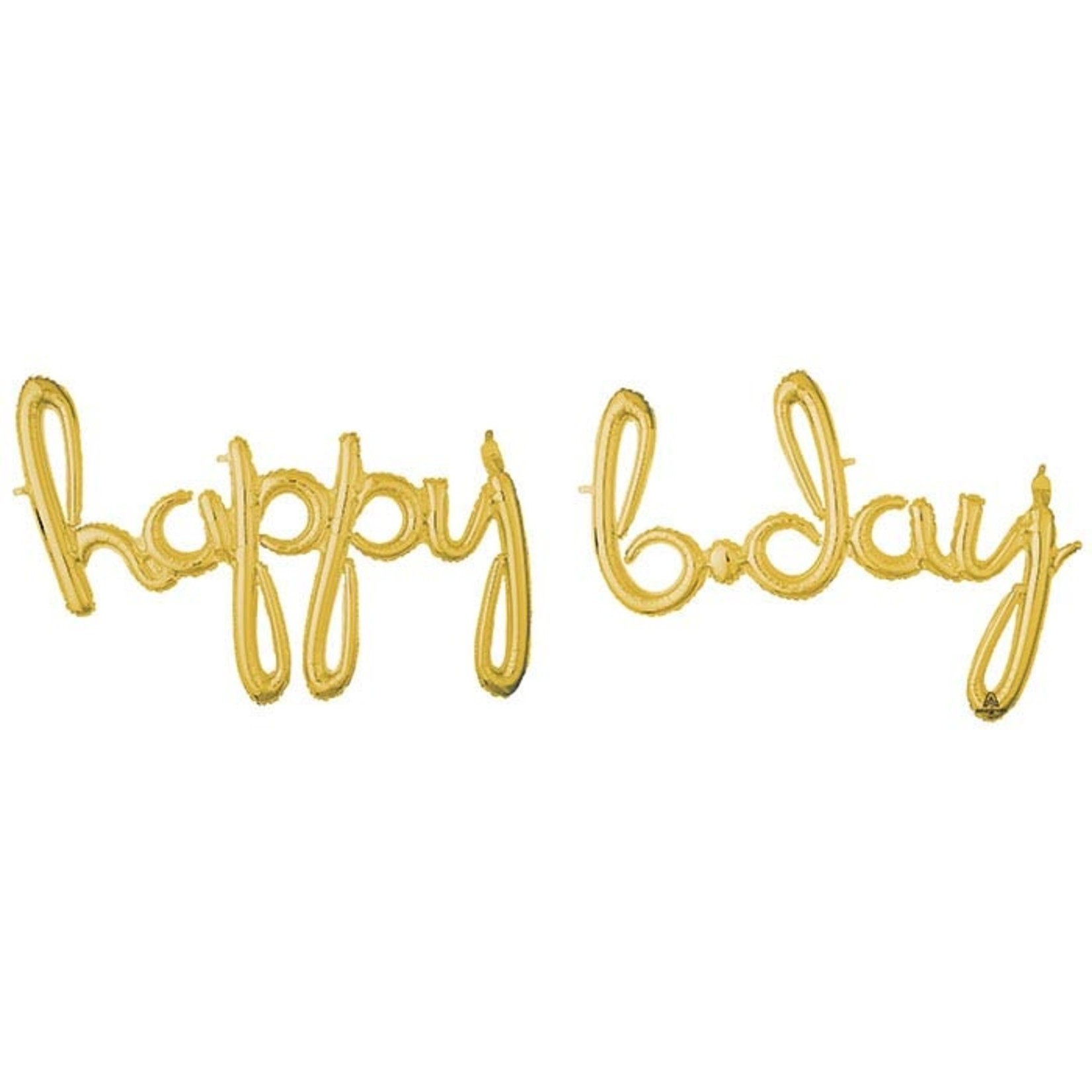 """Air Filled - Happy B Day  - Gold - 76"""" x  54"""""""