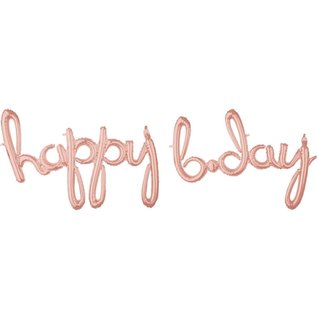 """Air Filled - Happy B Day - Rose Gold - 76"""" x 54"""""""
