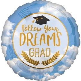 """Foil Balloon - Grad Follow Your Dreams - 18"""""""