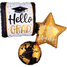 "Foil Balloon - Hello Grad - 34"""