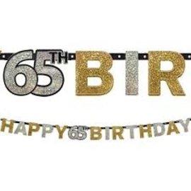 Banner Happy 65th Birthday Prism Sparkling