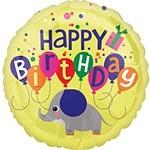 "Foil Balloon - Elephant Birthday - 18"""