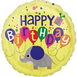 Foil Balloon - Elephant Birthday - 18""