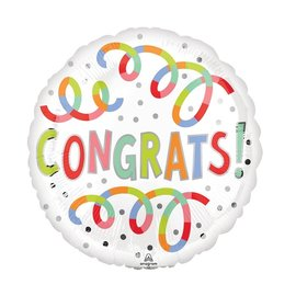 """Foil Balloon - Congrats Swirls - 18"""""""
