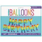 Foil Balloon - Happy Birthday Air Filled Kit (13 Balloons)-Rainbow