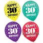"Balloons-Latex-30th Birthday-15pcs-12"""