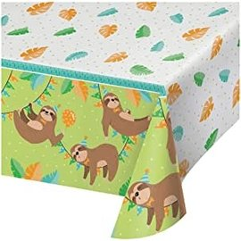 "Tablecover - Plastic - Rectangle - Sloth Party - 54"" x 102"" - 1pc"