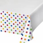 "Tablecover - plastic - dots & Stripes - Multicolor - 54""x102"" - 1pc"