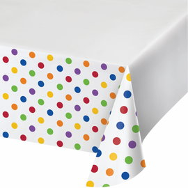 "Tablecover - plastic - dots & Stripes - Multicolor - 54""x102"" - 1pc"