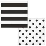 Napkins - Dots & Stripes Black Velvet - 17pkg - 2ply