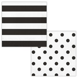 Napkins - Dots & Stripes Black Velvet - 17pkg - 2ply