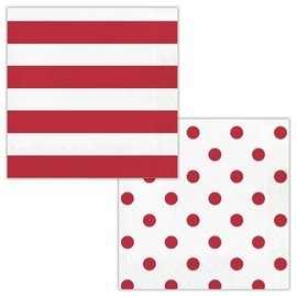 Napkins - LN - Dots & Stripes Classic Red - 16pkg - 2ply