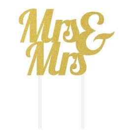 Cake Topper - Mrs & Mrs - Gold - Glitter - 1pc
