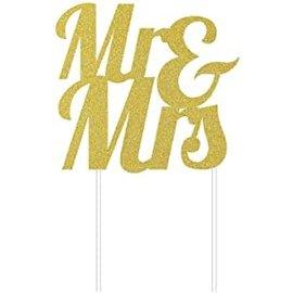 Cake Topper - Mr & Mrs - Glitter - Gold - 1pc