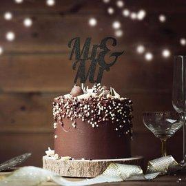 Cake Topper - Mr & Mr - Glitter - Black - 1pc