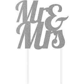 Cake Topper - Mr & Mrs - Glitter - Silver - 1pc