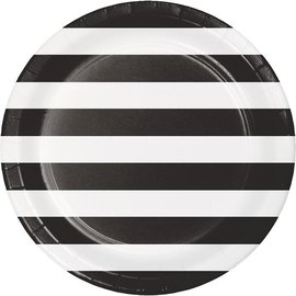 Plates - LN - Dots & Stripes Black Velvet - 9'' - 8pkg
