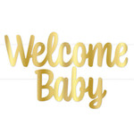 """Banner - Welcome Baby - Gold  Foil - 7""""x4ft - 1pc"""