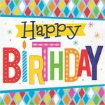 Napkins - LN - Bright Happy Birthday - 16pkg - 2ply
