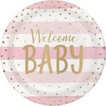 Plates - LN - Baby Pink & Gold Celebration - 9'' - 8pkg