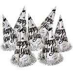 Hat - Happy New Year - Foil Silver - 1pc