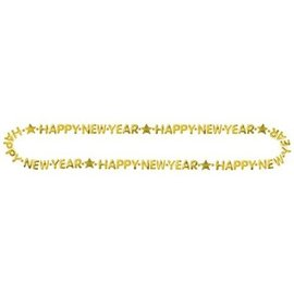 Necklace - Gold - Happy New Year - 1pc