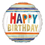 Foil Balloon - Happy Birthday Letters And Stripes - 17''
