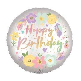 Foil Balloon - Boho Birthday Satin Flowers - 18''