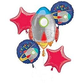 Foil Balloon Bouquet - Blast off Birthday - 5pkg