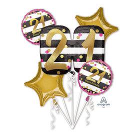 Foil Balloon Bouquet- 21th Birthday- 5 pk