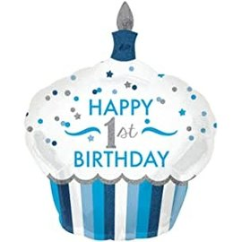 Foil Balloon - 1st HBD Cupcake Boy - 36''