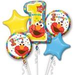 Foil Balloon- 1st Birthday- Sesame Street- 5pk