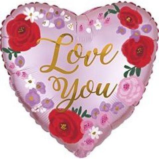 Foil Balloon - Love You Painted Floral - 18''