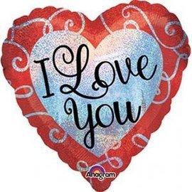 Foil Balloon - Sparkle Heart Love You - 18''