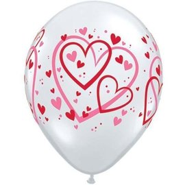Latex Balloons - Red&Pink Pattern Hearts - 11''