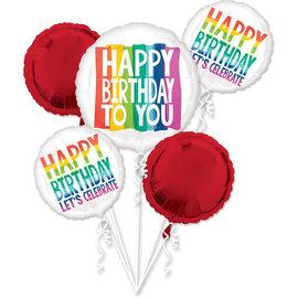 Foil Balloons - Rainbow Wishes Happy Birthday - 5 pk