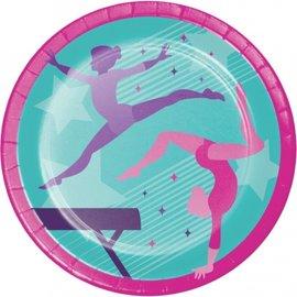 "Plates - LN - Gymnastics Party  - 9"" - 8pkg"