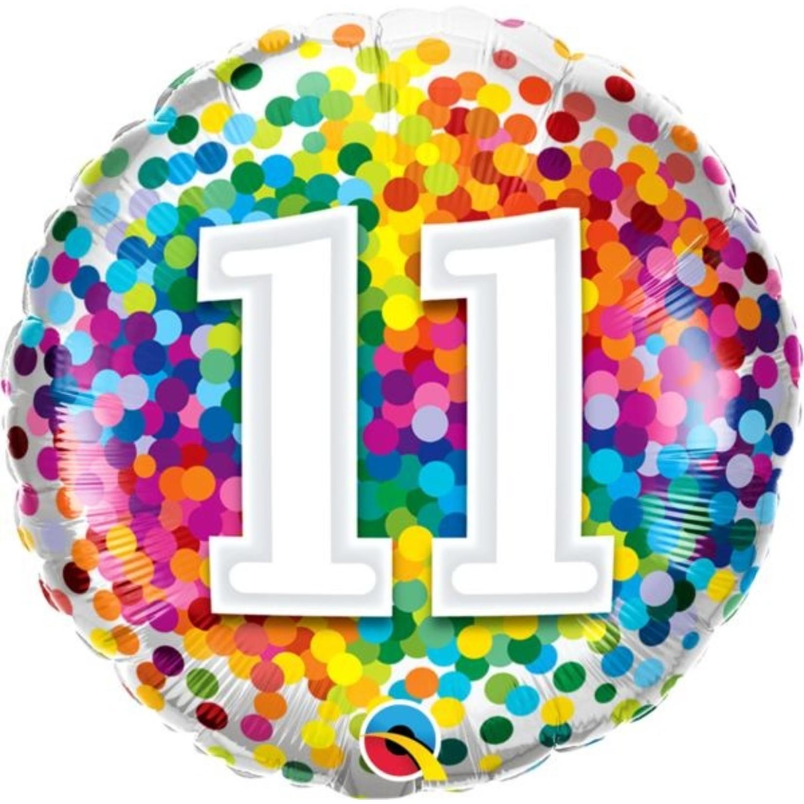 "Foil Balloon - ""11"" Rainbow Confetti - 18''"