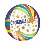 Foil Balloon - Orbz - Congrats Stars - 15''