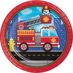"""Luncheon Paper Plates-Flaming Fire Truck-8pk-9"""""""