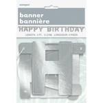 Banner - Happy Birthday Silver
