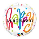 Foil Balloon - Happy Birthday Dots - 18''