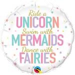 Foil Balloons - Unicorn/Mermaids/Fairies - 18''