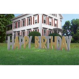 Yard Sign - Happy Birthday Gld & Slvr - 12'' - 4pkg