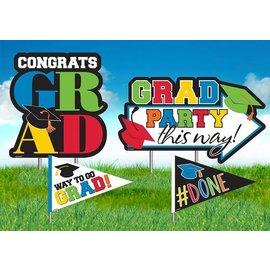 Yard Decorations - Stakes Congrats Grad Multi - 4pk