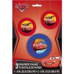 Danglers- Paper Fan-Disney Pixar Cars -3pk
