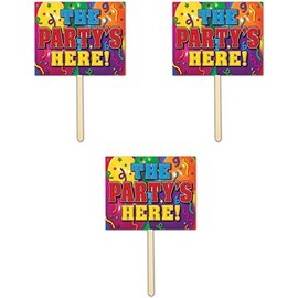 Yard Sign - The Party Here! - 1pc
