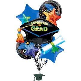 Foil Balloon Bouquet - Congrats Grad - 5 balloons
