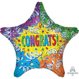 Foil Balloon - Congrats - Star - 28'' - 1pc
